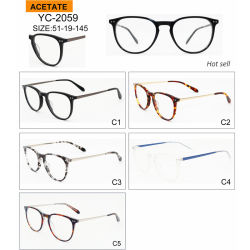 c4e9ede6052 Popular Round Frame Acetate Metal Optical Glasses Spectacles Optical Frame  in 5 Colors Factory Directly Supply Ready