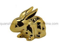 OEM Decorative Electroplating Ceramic Animal Rabbit Craft