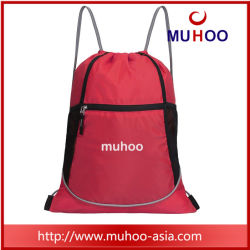 Red Nylon/Polyester Gym Drawstring Sports Backpack Bag for Promotional