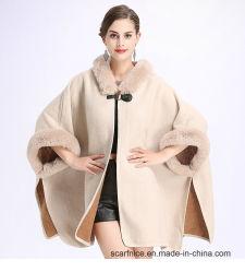 38aed783928 2018 Winter Warm Plus Size Fashion Two Used Poncho Faux Cashmere Shawl Women  Imitation Rabbit Fur