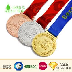 Wholesale Custom 3D Zinc Alloy Casting Soft Enamel Marathon Running Sports Metal Medal Military Honor Award Souvenir Olympic Blank Gold Medal for Promotion Gift