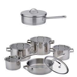 OEM/ODM 10 PCS Stainless Steel Cookware Set Stock Pot & Frypan (HRA-1624)