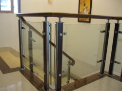 Chinese Modern Fashion Style Glass Stainless Steel Wood Stair Railing