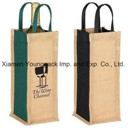 Whole Bulk Promotional Custom Printed Jute Single Bottle Wine Tote Bags