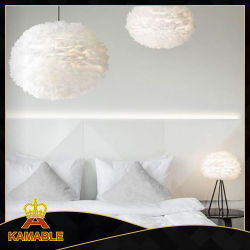 White Iron and Feather Pendant Light for Decoration