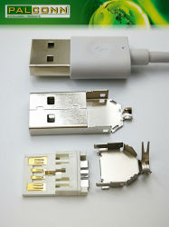 USB3.0 Plug Solder Type Material=SPCC-SD T=0.30mm, Underplate Plated Copper Overall 80u'' Min