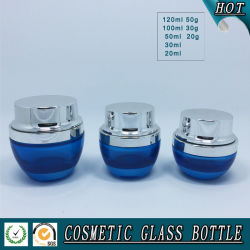 blue Coloured Cosmetic Packaging Glass Bottles and Jars