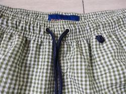 Customized Men's Small Checked Seersucker Beach Shorts Yarn Dyed Swimming Shorts