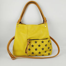 dcd3fd8717ab UK Famous Designer Soft Yellow PU Leather Contrast Color Ladies Handbags  with Strap