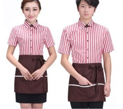 cb45b8afec2 Striated Restaurant Hotel Work Wear Uniform with Apron