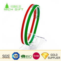 China Customised Design Your Own Spray-Paint Qatar Sport Team Motivational Funny Rubber Bracelet Dual Layer Christian Energy Barbados Qr Code Silicon Wristband