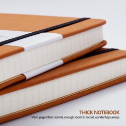 Thick Classic Notebook with Pen Loop A5 Wide Ruled Hardcover Writing Notebook with Pocket