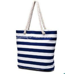 Hot Selling Stripe Canvas Beach Tote Bag Simple Women Tote Handbag