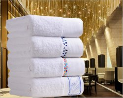 White Hotel Bath Towel, Factory Supply Plain Solid 100% Cotton