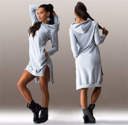 Women Winter Cotton Round Neck Long Sleeve Casual Dress