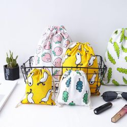 Canvas Drawstring Bag, Wholesale High Quality Factory Customize Printed Small Cotton Muslin Calico Natural Shopping Sports Swimming Fabric Gift Bag