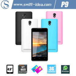 5 Colors 4.5 Inch Mtk6572 Dual Core 3G Dual SIM First Cell Phone (P9)