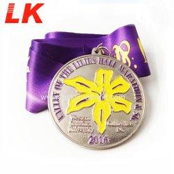 Promotion Gift Custom Soft Enamel Souvenir Metal Nickel Sport Medallion Medal with Ribbon