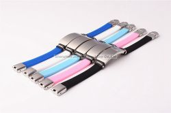 Promotional Custom Made Lasing Logo Silicone Metal Bracelet for Sport