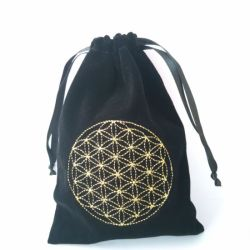 Custom Black Wholesale Cotton Drawstring Bags with Gold Logo
