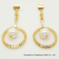 Hollow out Circle Imitation Pearl Bead Drop Earrings Fashion Jewelry