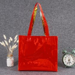 Factory Wholesale Plastic PVC Tote Bag Color Tote Shopping Bag Laser Clothing Gift Packing Bag Printing