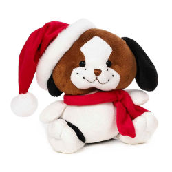 mini plush cute fat dog toy 2018 plush bobo dog toys with red hat and scarf