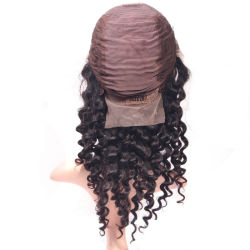Human Indian Hair Nature Remy Virgin Women Deep Wave Lace Front Wig