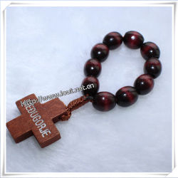 Factory Supply Wooden Beads Finger Rosary Bracelet On Io Ce001
