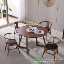 Solid Wood Round Dining Table With Walnut Veneer Dining Furniture Set