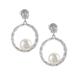 a4ea4751c Fashion 925 Silver jewelry Taper Shape Stone Hoop Earrings with Good  Quality Shell Pearl