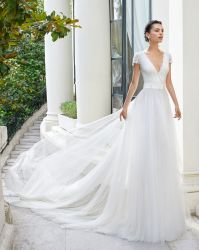 5a4533615d6 Fashion Newest Short Sleeve Lace A Line Evening Bridal Wedding Dress 3157