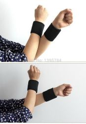 1 Pair Tourmaline Magnet Wrist Straps Wraps Self-Heating Wristbands Keeping Warm Products Sports Safety Health Care