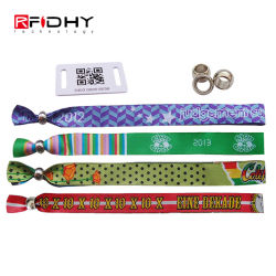 Music Festival RFID Fabric Wristband NFC Woven Bracelet for Access Control