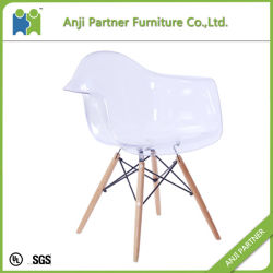White PC Seat with Wood Base Dining Room Home Furniture Chair (Crystal)