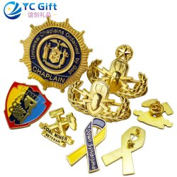 Factory Custom Zinc Alloy Gold Plating Personalized 3D Emblem Supplies Award Military Army Us Police Uniform Lapel Pins School Sport Souvenir Metal Crafts Badge