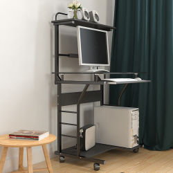 Soho Rolling 2-Tier Computer Cart with Printer Shelf for Small Office Study