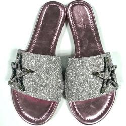b4bfb787925 China New Design Ladies Glitter Leather Slide Sandals Plain Rubber Slippers