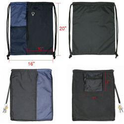 Polyester Drawstring Bag Backpack with Water Bottle Mesh Pockets, Wholesale Customize Nylon 210d 420d Sport Swimming Gym Cycling Travel Bag