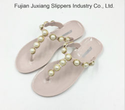d6d6ce078d38 PVC Slippers Summer Women Pearl Jelly Sandals Shoes