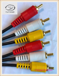 Audio Cable, RCA Cable, AV Cable, 3 RCA Plug to 3 RCA Plug Cable
