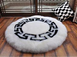 Large Size Round Sheepskin Floor Area Carpet in Football Pattern