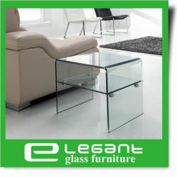 Clear Bent Glass Side Table With Clear Glass Shelf ...