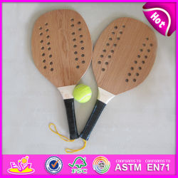 2015 High End Wooden Beach Racket, Reasonable Price Wooden Beach Racket, Wooden Beach Racket Set 2 Beach Rackets 1 Ball W01A116
