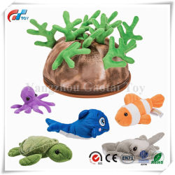 5 Piece Set of Plush Soft Stuffed Sea Animals Playset with Plush Coral Reef House for Storage Includes Stuffed Octopus, Turtle, Stingray, Fish