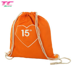 Best Selling Sport String Bag Custom Cotton Canvas Backpack with Drawstring for Daily Use