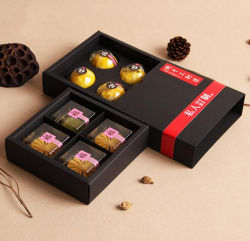 Wholesale 4 Pack of Black Card Mooncake Box, Drawer Type Mooncake Box, Gift Box Supplier