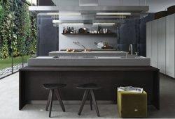 High Quality Italian Style Modern High Pressure Finger Pull Laminate Wood Grain Texture Melamine Kitchen Cabinet