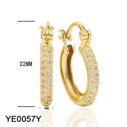 beb065d6a Factory Wholesale Fashion Jewellery 14 Gold Plated Silver or Brass CZ Huggie  Hinged Hoop Earrings