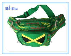 Custom Pattern Print Jamaica Flag Cheap Trendy Travelling Chest Bum Bag, High Quality Outdoor Hiking Fanny Pack Sport Waist Bag